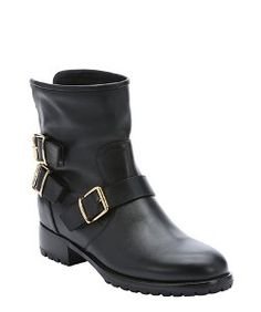 Giuseppe Zanottiblack leather 'Cobain' buckle detail pull-on motorcycle boots