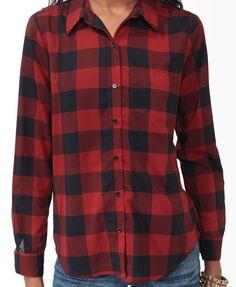 Buffalo Plaid Chiffon Shirt  