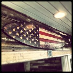 American flag surfboard at Backshore Brewing Co
