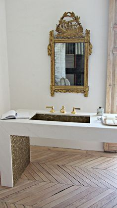 greige: interior design ideas and inspiration for the transitional home : Rustic glam bath and a Thank You!