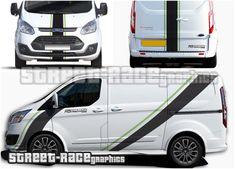 Ford Transit Custom Sport Viper stripes Ford Transit Custom Sport Viper racing stripes sticker kit from street race graphics. Included are large diagonal side racing side stripes, front bumper & bonnet stripes, plus stripes for the rear Sports Decals, Car Decals, Kangoo Camper, Transit Custom, Custom Stickers, Car Stickers, Racing Stripes, Custom Vans, Ford Transit