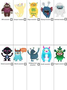 Bingo Monster. Cartones para descargar.
