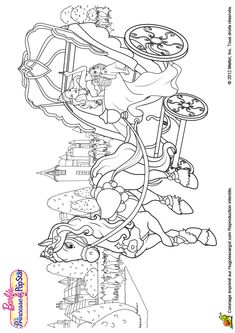 Coloriage de barbie se baladant avec son cheval - Coloriage carrosse ...