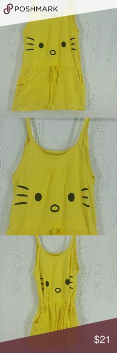 Yellow Kitty tank Top Dress. Kids Adorable yellow dress,  tank top, with a cute kitty design, adjustable cord. Have pockets.  This item is brand new and never used. No tags. Dresses