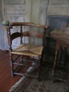 18th century corner chair & early sewing clamp