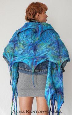felted scarf shawl  LAGOON handmade art to wear by kantorysinska, $124.00
