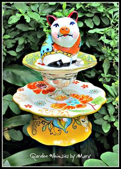 Southwest Style Pig Garden Totem Stake  As by GardenWhimsiesByMary, $35.00