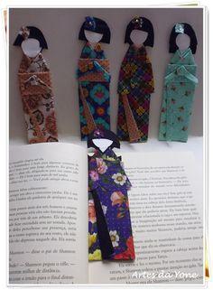 Marcadores de Livros em Tecido <br>Gueixas <br>Com Capinha Plástica para proteção. <br> <br>R$ 18,00