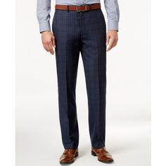 Ryan Seacrest Distinction Men's Slim-Fit Blue Flannel Glen Plaid Suit... ($150) ❤ liked on Polyvore featuring men's fashion, men's clothing, men's pants, men's dress pants, blue, mens dress pants, mens slim dress pants, mens slim fit dress pants, mens slim pants and mens slim fit suit pants