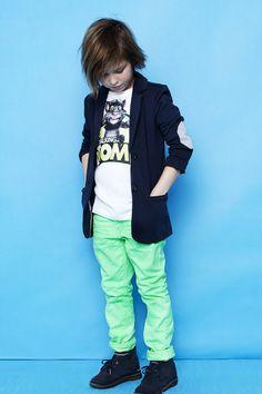 Boy fashion. Love the neon green pants