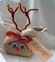 Washcloth reindeer stuffed with bath goodies!