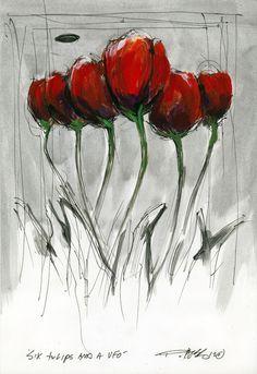 six tulips and a ufo by Derek Hess  http://pinterest.com/source/derekhess.com/