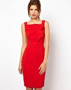 Image 1 ofKaren Millen Bodycon Dress with Slash Neck Line