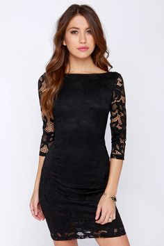 A round neckline with scooping back top the darted bodice on this lace bodycon dress. Varying patterns of floral lace and sheer three-quarte...