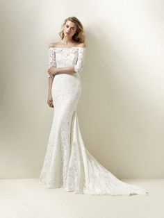 Dracane: Romantic and feminine off-the-shoulder wedding dress with lace and French sleeves - Pronovias