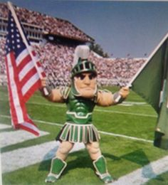 d83042e79 College game day at Spartan Stadium. Gotta love it! Michigan State Mascot