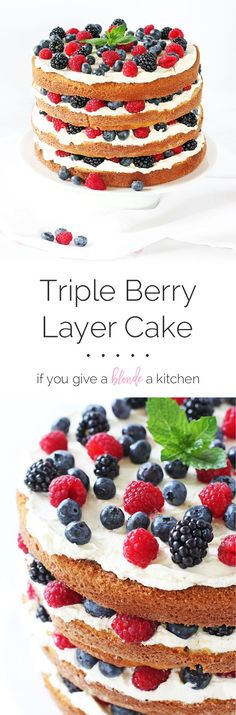 Triple Berry Layer Cake is the ideal summer cake. Layers of vanilla cake are blanketed by Swiss meringue frosting and a healthy helping of summer berries. | www.ifyougiveablo...
