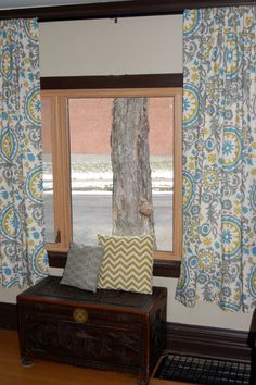 Love this color combo Suzani patterned drapes...except puddle on floor:)