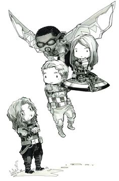 chibi team Winter Soldier fanart by doomcheese