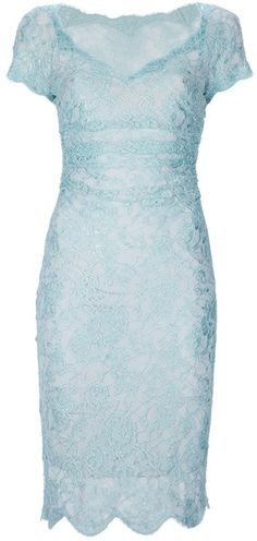EMILIO PUCCI  Blue Embroidered Lace Dress  Wide V-neckline, cap sleeves, a scalloped hem and a fitted design.