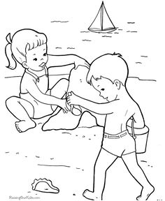 Beach Page Printable Coloring Sheets | Coloring picture of the beach