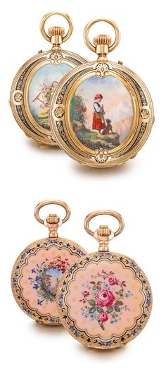 HENRY CAPT À GENÈVE A FINE 18K GOLD AND ENAMEL HUNTING CASED PENDANT WATCH AND A 14K GOLD AND ENAMEL HUNTER CASED PENDANT WATCH CIRCA 1870 AND 1890