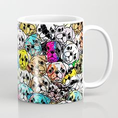 Purdy Pugs are pug dogs dog cats colorful rainbow colourful cute nature pet pets turquoise yellow red pink fuschia collage gemstone glitter diamonds gems metal pattern texture abstract illustration drawing ink line drawing paint crowd a lot hound