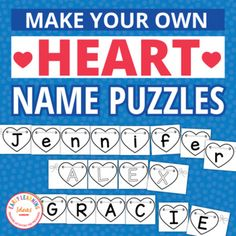 Valentines Day Name Activities for Preschool & PreK   Editable Name Puzzles Preschool Name Recognition, Preschool Names, Pre K Activities, Letter Activities, Learning Activities, Teaching Letters, Teaching Kids, Learning To Write, Early Learning