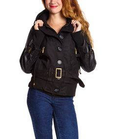 This Yoki Black Belted Hooded Coat - Women by Yoki is perfect! #zulilyfinds