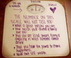 how sweet! spread this message. if you know anyone who struggles with weight issues or things they are heavy (regardless to if they are or aren't) don't hesitate to write this on their scale or a sticky note for them