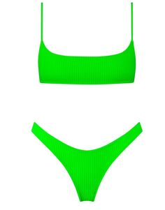 10d1e0cceb3 Bright Green super stretch nylon spandex ribbed bikini. Featuring a  narrower front crop top with