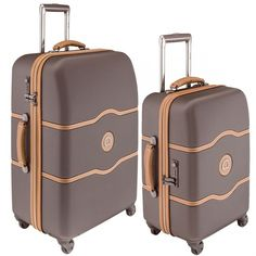 Delsey Chatelet 2 Piece Luggage Set | 19 and 24 Spinner Trolleys (One size, Brown)