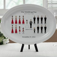 Keepsake plate of your wedding party... each figure is customizable... cute!