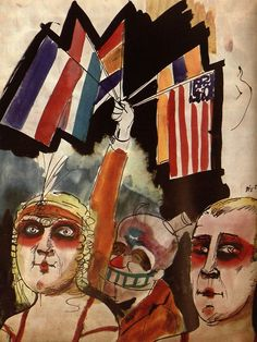 Otto Dix, Zwei Browns (Two Browns), 1922  #otto dix #german expressionism #expressionism #watercolour #1922 #genre #Dix watercolour #Dix genre #Dix 1920s #German