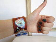 Tribal leather cuff Made to order Boho chic leather by Nlooming, €27.00