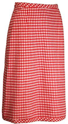 9af93ae71b Super Cute Sixties Wrap Pencil Skirt in fabulous red and white gingham wool  at ballyhoovintage.