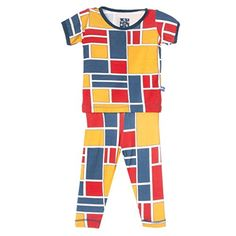 KicKee Pants Short Sleeve Pajama Set Little Boys, Bauhaus 4T