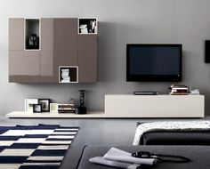 Wohnwand Trento Weiss Hochglanz Mit Grau 20705 Buy Now At