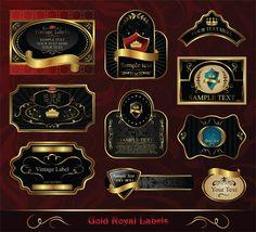 XOO.me :: 10 Royal Gold Black Vintage Labels Vector Set