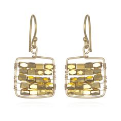 Charm & Chain | Gold Square Earrings - Earrings - Jewelry