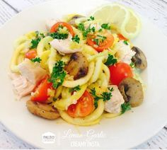 This Paleo Creamy Chicken Pasta is so good! Make sure to add it to your weekly Paleo Meal Plan!