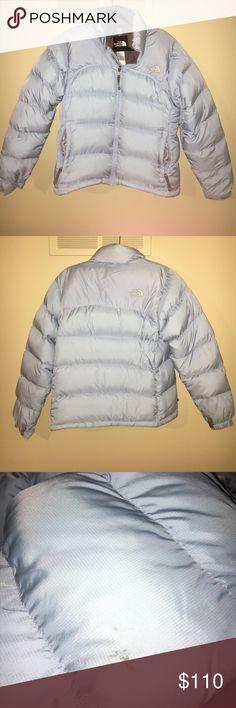 The North Face baby blue jacket. Women's Small The North Face baby blue jacket. Used condition, but still in good quality. Women's Small The North Face Jackets & Coats