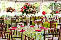 limegreen wedding reception | ... & BLACK Wedding / pink and lime green wedding reception and flowers