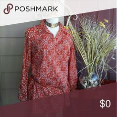 Red Print  Button Down NWT. Lovely fall bright burnt red.  Wear loosely, perhaps with a cam under, or under sweater! Style & Co Tops Button Down Shirts