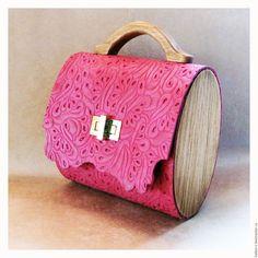 "Buy Handbag women's ""Fuchsia"" leather. - fuchsia, floral, bridge, leather and wood"