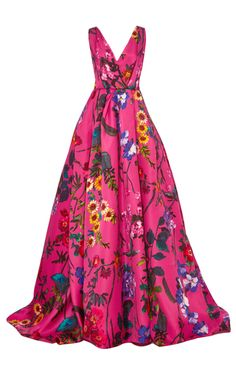 Sleeveless floral ball gown by monique lhuillier now available on moda oper Floral Evening Dresses, Pink Evening Gowns, Pink Formal Dresses, Dress Formal, Floral Dresses, Floral Print Gowns, Printed Gowns, Floral Gown, Floral Prints