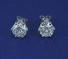 8.03ct Round Diamond Stud Earrings 18kt white Gold EGL certified JEWELFORME BLUE