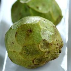 Cherimoya - Cherimoyas come from short, shrub-like trees. They have a white flesh, which is extremely soft and sweet.