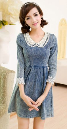Sweet Pearl Collar Denim Dress- this whole picture is so sweet, but for Lamb to wear this, it will need 20 million ruffles...., she said that's okay........