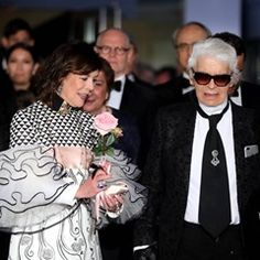 Princess Caroline of Hanover and Karl Lagerfeld arrive at the 63rd Monaco Rose Ball